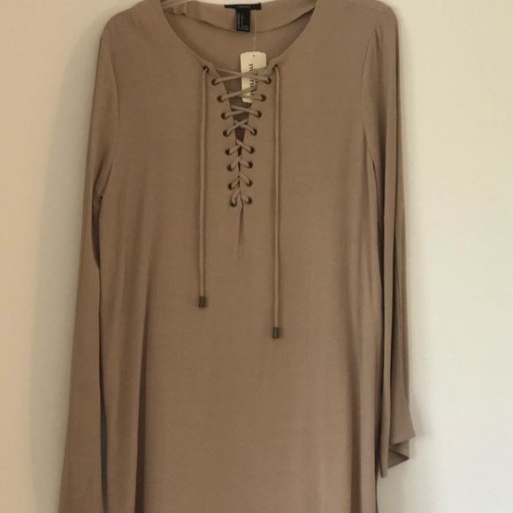 Forever 21 lace up Taupe Dress. MINT CONDITION!